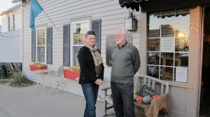 Tim & Megan outside a bakery selling Williamsville family farm products.